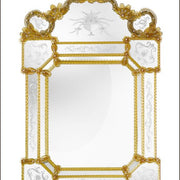 Natural wood-framed Venetian mirror with Murano glass detail
