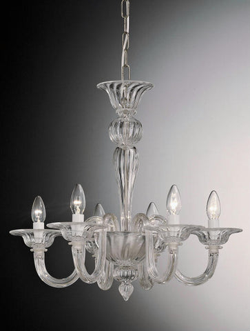 6 arm Murano glass chandelier in choice of colours
