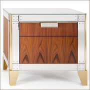 Rosewood bedside table with Venetian mirror glass detail