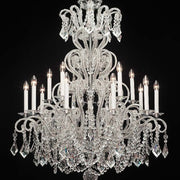 15 Light Silver Chandelier with Bohemian Crystals