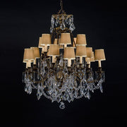 18 Light Brass Chandelier with Shades