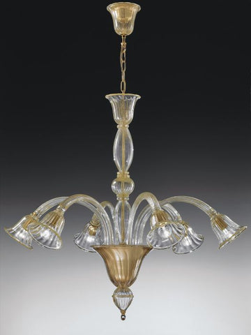 Clear Italian glass 6 light chandelier with gold frame