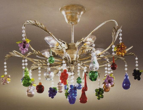 Murano glass 5 light chandelier with multicoloured glass fruits