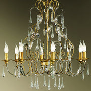 Gold Chandelier with Crystal Droplets
