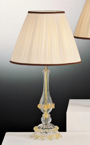 Traditional Murano glass lamp base with gold trim