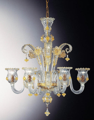 Murano glass chandelier with golden flowers & 6 lights