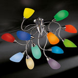 Contorting metal ceiling lights with murano glass diffusers
