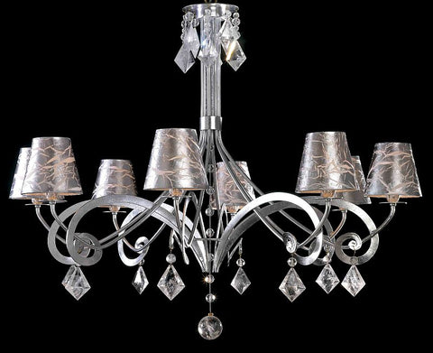 Bohemian Crystal and Silver-Leaf 8 light chandelier