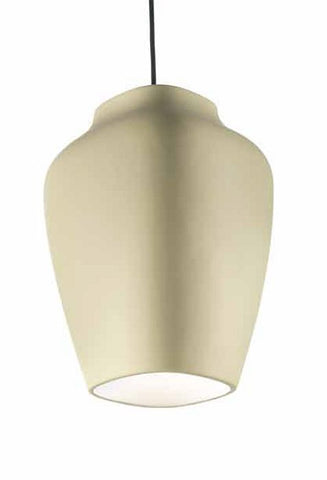 Buttercream ceramic bespoke ceiling pendant with white interior