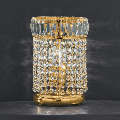 Gold-plated table lamp with 24% lead crystals