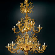 Large amber Murano glass 18 light chandelier