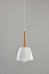 Modern Ceiling Pendant in Wood and White Finished Metal