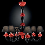 Black and coral 6 light Murano glass flower chandelier