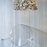 Modern textured ceramic and silver leaf ceiling light