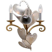 Silver Metal Hearts with Glass Bird and Crystals Sconce