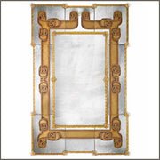 Large art deco wall mirror with golden eglomise finish
