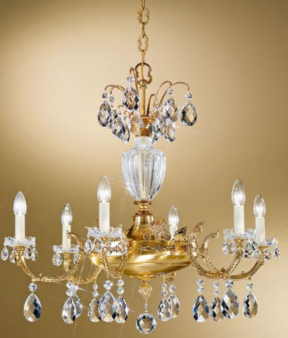 Antique French Gold Chandelier with Bohemian Crystals