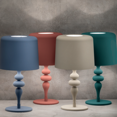 Modern wood and aluminium table lamp in 8 colours