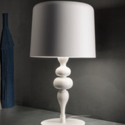 Modern turned wood table lamp with aluminium shade