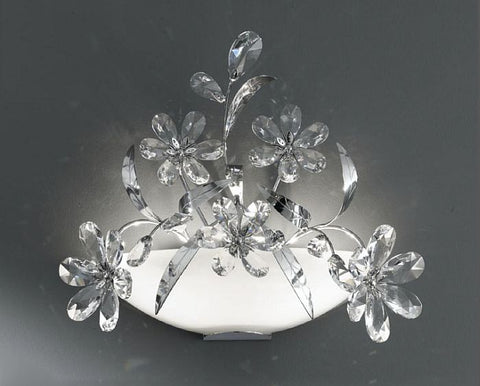 Wall light with clear Asfour crystal flowers