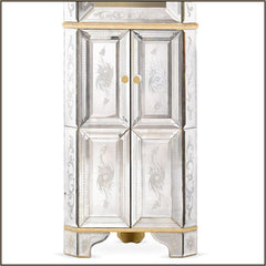 Tall Venetian glass mirror display cabinet
