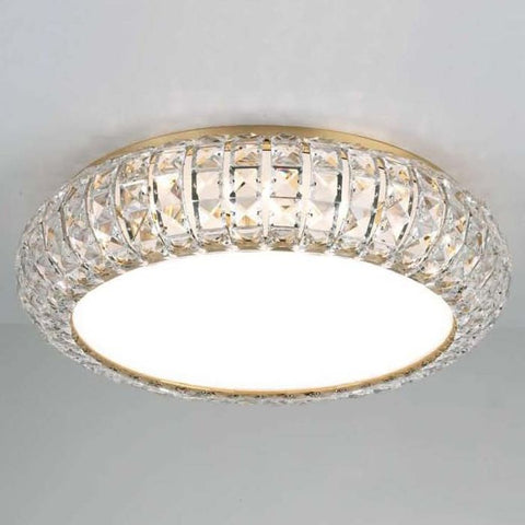 Gold-plated or nickel flush ceiling light with Spectra crystals