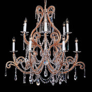 12 Light Copper Chandelier with Crystal Glass Pendants