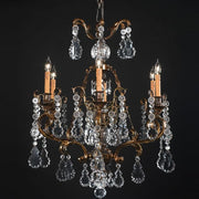 6 Light Brass Chandelier with Hand Cut Bohemian Crystals