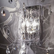 Fume, black, clear or white wall light with crystals