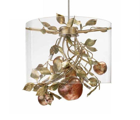 Gold Metal Chandelier with Apples & Glass Shade