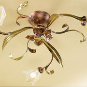 Copper & Italian glass rustic 3 arm ceiling light