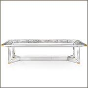 Long Venetian mirrored dining table with classic engravings