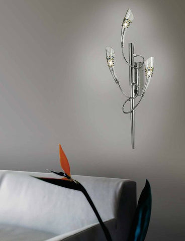 Wall light with crystal diffusers and coloured glass drops