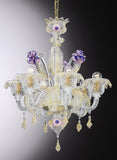 Clear Murano glass 6 light chandelier with purple flowers