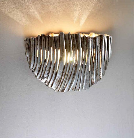 Bespoke gold leaf ceramic wall light