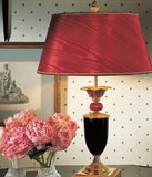 Classic Italian table light with black lacquered wood base