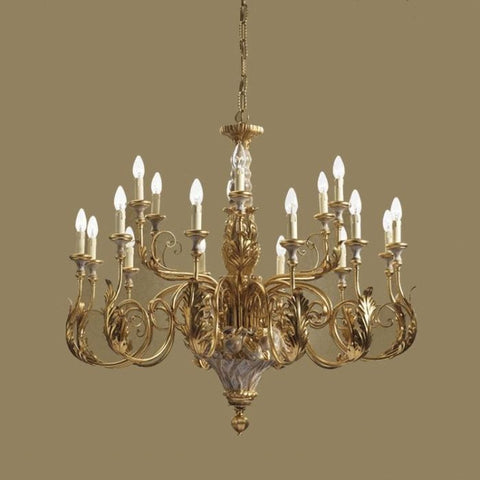 Beautifully Detailed Gold Metal Chandelier with Wooden Base