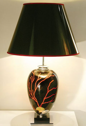 Italian table lamp with black shell and red coral mosaic