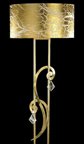 Florentine Bohemian crystal and gold floor lamp with gold shade