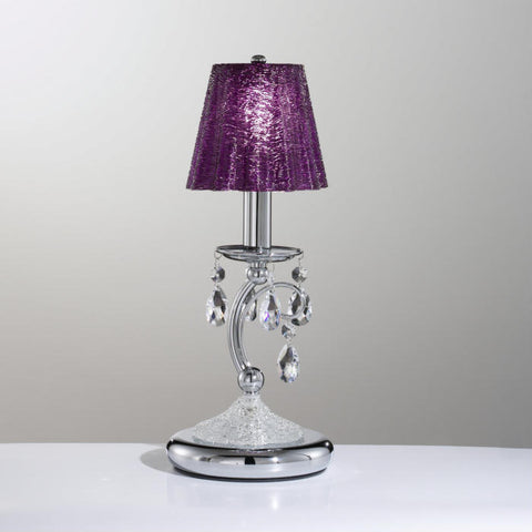 Swarovski crystal table light with purple glass shade