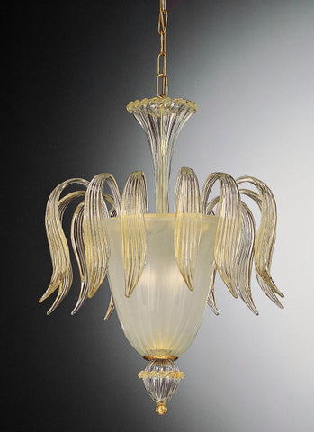 Murano clear glass ceiling light infused with 24 carat gold