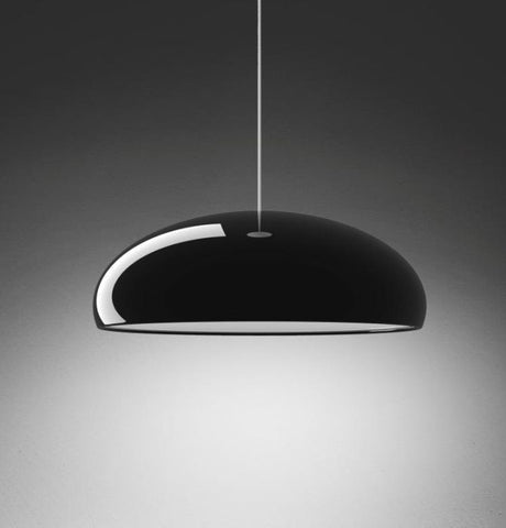 Shiny black modern metal pendant light with acrylic diffuser