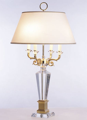 Clear crystal 4-light table lamp with ancient gold finish