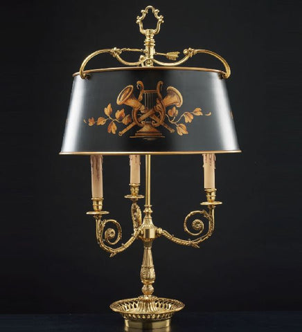 French gold Bouillotte style table light with handpainted shade