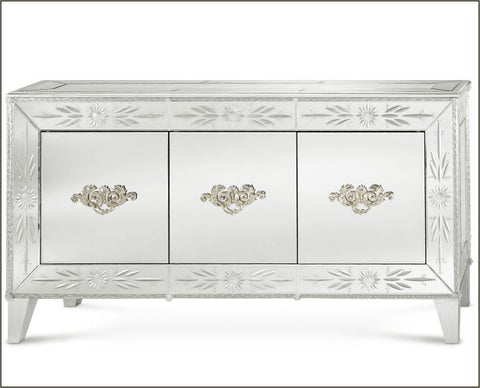 Ornate Venetian mirror sideboard with Murano glass flowers