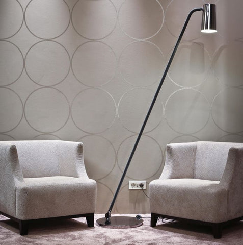 High-end bronze or chrome floor lamp with  silk rope detail