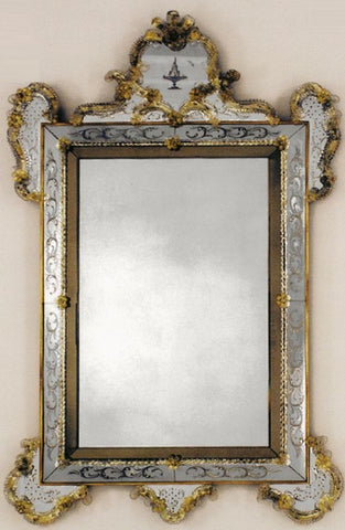 Antique Glass 17th Century Venetian Mirror