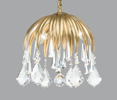 Gold Metal Chandelier with Suspended Swarovski Elements