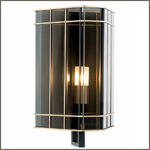 30 cm luxury smoked glass wall light with gold detail