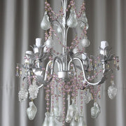 4 arm silver Venetian glass fruit chandelier